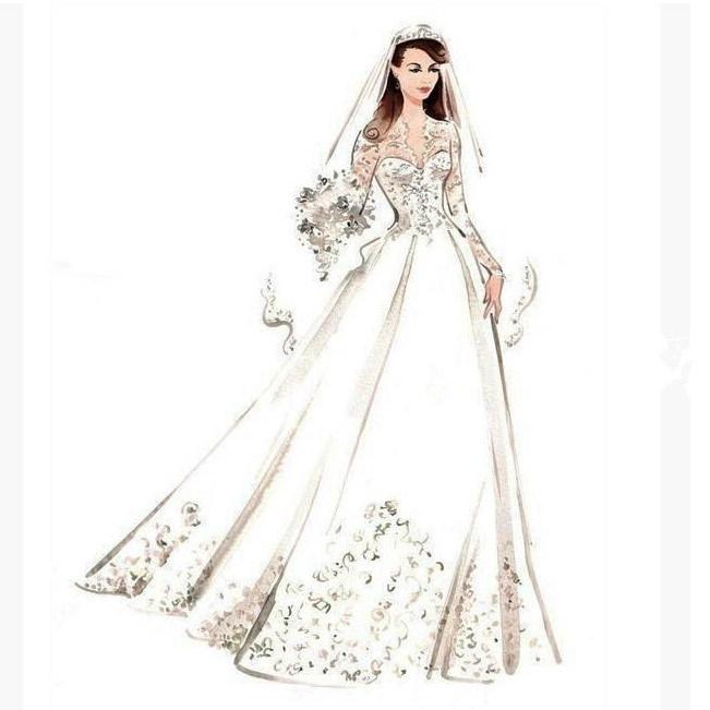 China Design Drawing Manuscript Sketch Realizable Wedding Dress ...