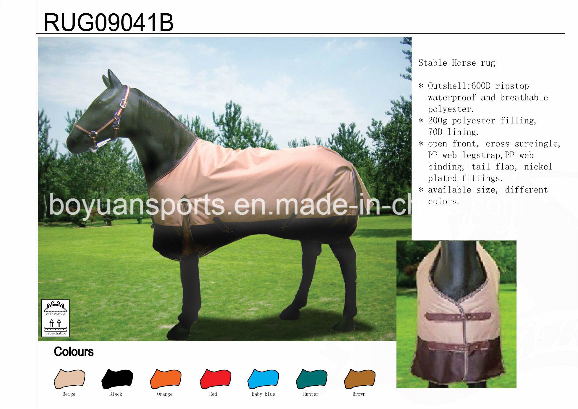 Hot Item Winter Ripstop Waterproof Breathable Horse Rugs For Whole
