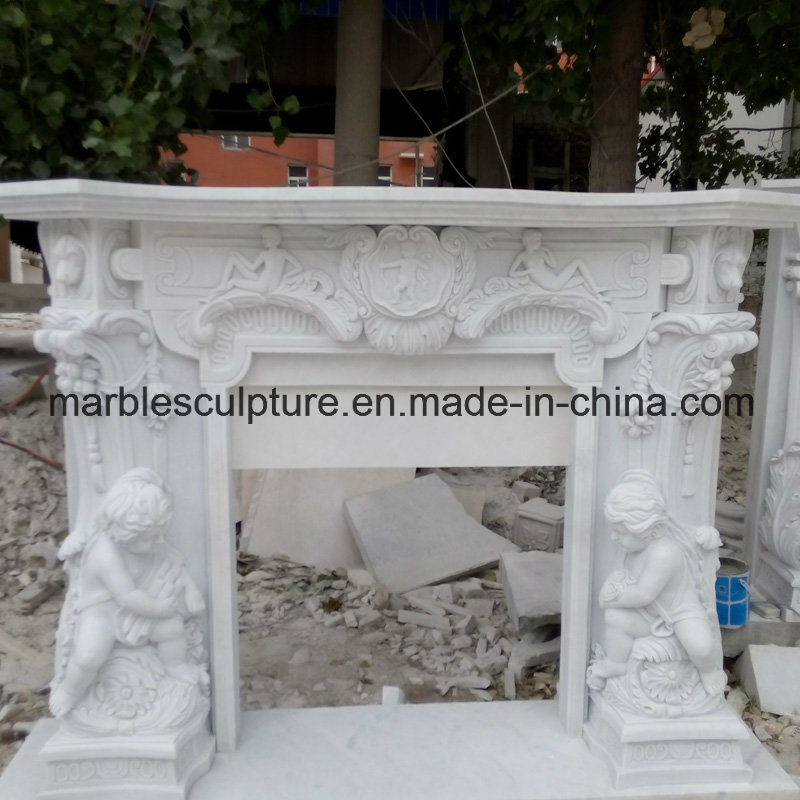 White Statue Surround Marble Fireplace (SY-MF21) pictures & photos