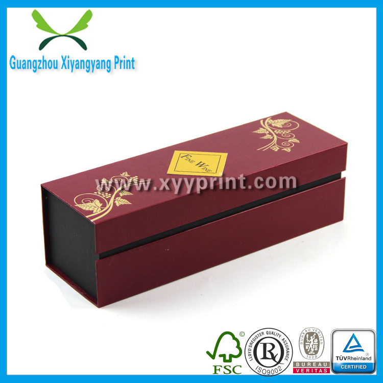Fancy Folding Cardboard Paper Wine Gift Box with Logo Printing