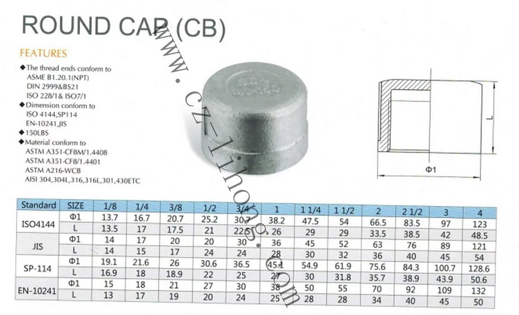 "Stainless Steel 1/8"" DIN2999 Round Cap From Casting pictures & photos"