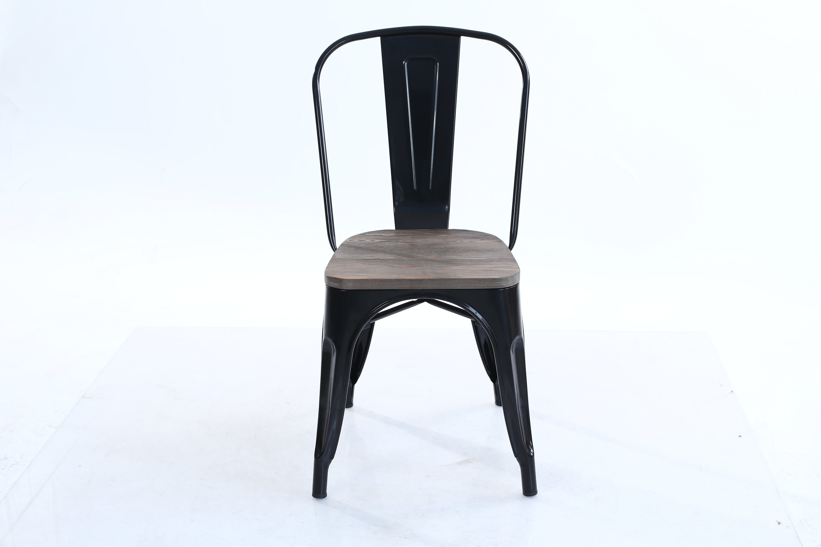 China Industrial Metal Wood Top Stackable Dining Chairs Set