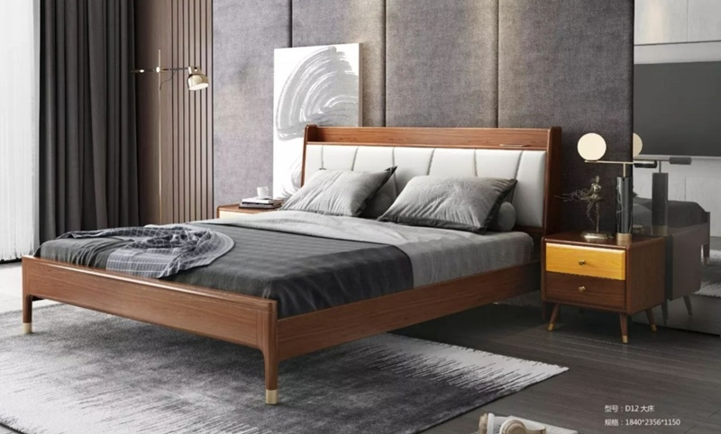 China Simple Modern Solid Wood Oak Double Bed Wooden King Single Bedroom Furniture Sets China Solid Wood Oak Bed Nordic Solid Wood Bed