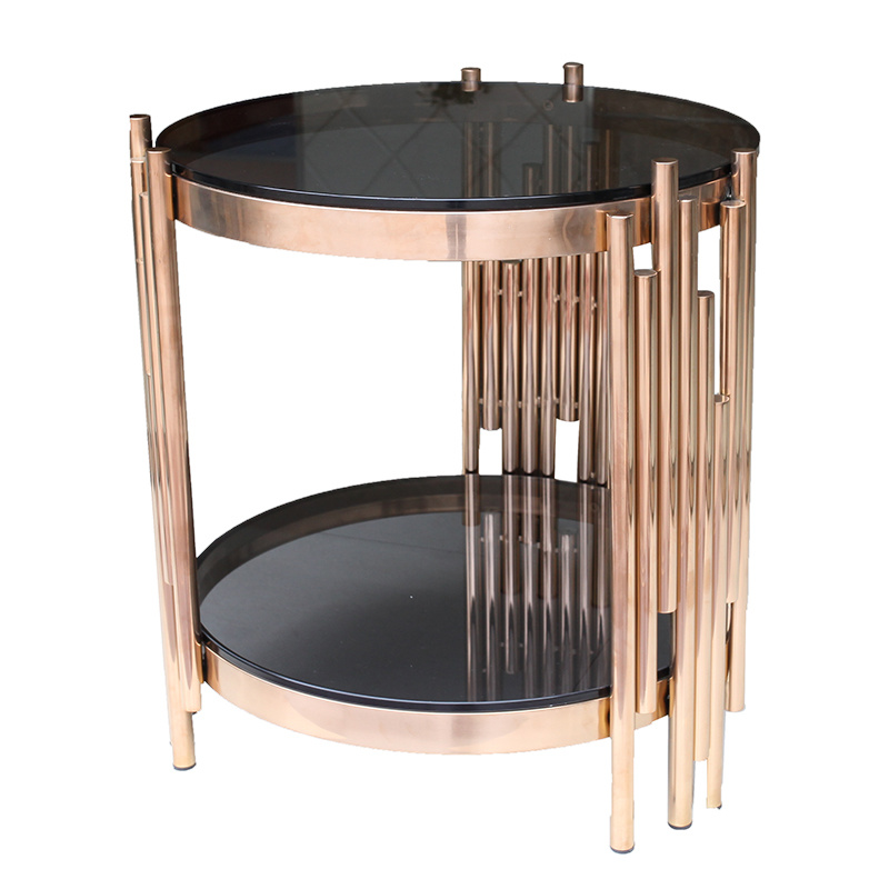 China Small Round Rose Gold Stainless Steel Coffee Table With Tempered Glass Top China Coffee Table End Table