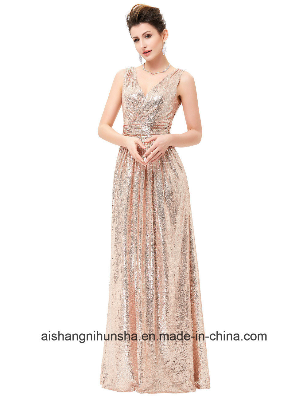 China Luxury Gold Silver Evening Dress Sequins Double V-Neck Evening ...