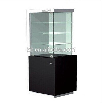 Pop Up Display Stand Customized Supermarket Wooden Melamine Glass Cabinet  With Lock
