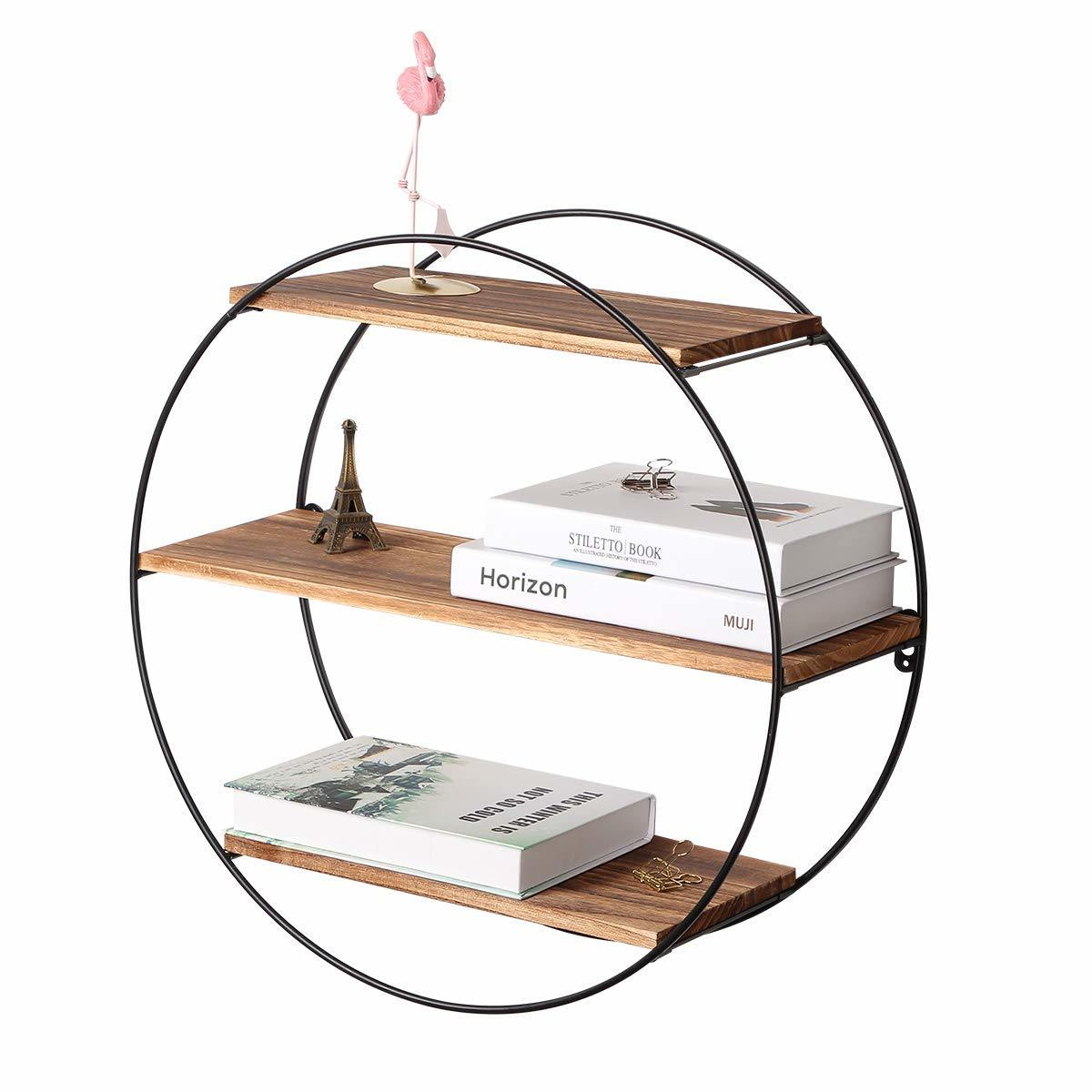 Hot Item 3 Tier Geometric Round Wood And Metal Wall Shelves For Farmhouse Decor
