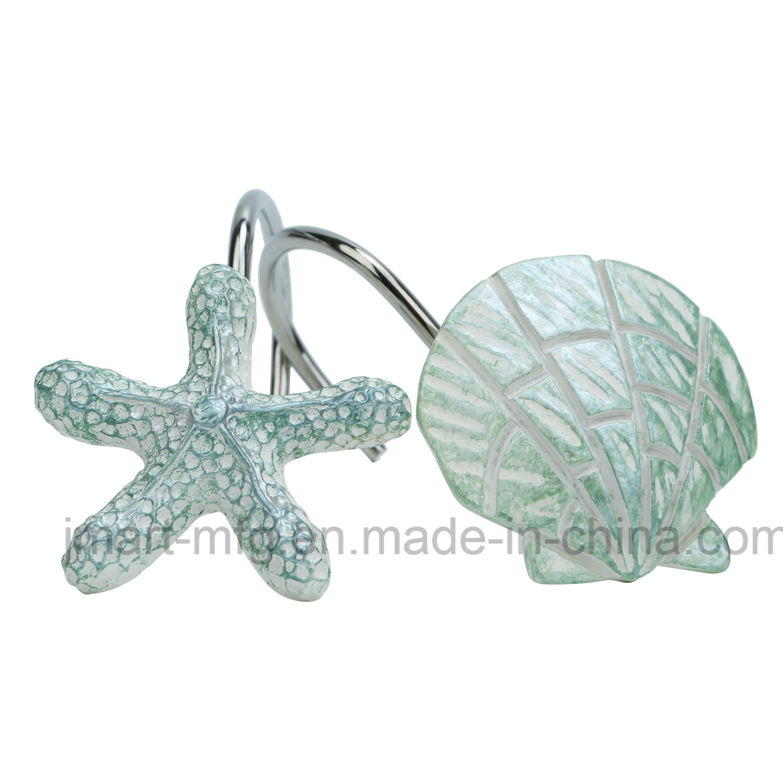 Hot Item Bathroom Polyresin Shower Curtain Hooks With Novelty Marine Design
