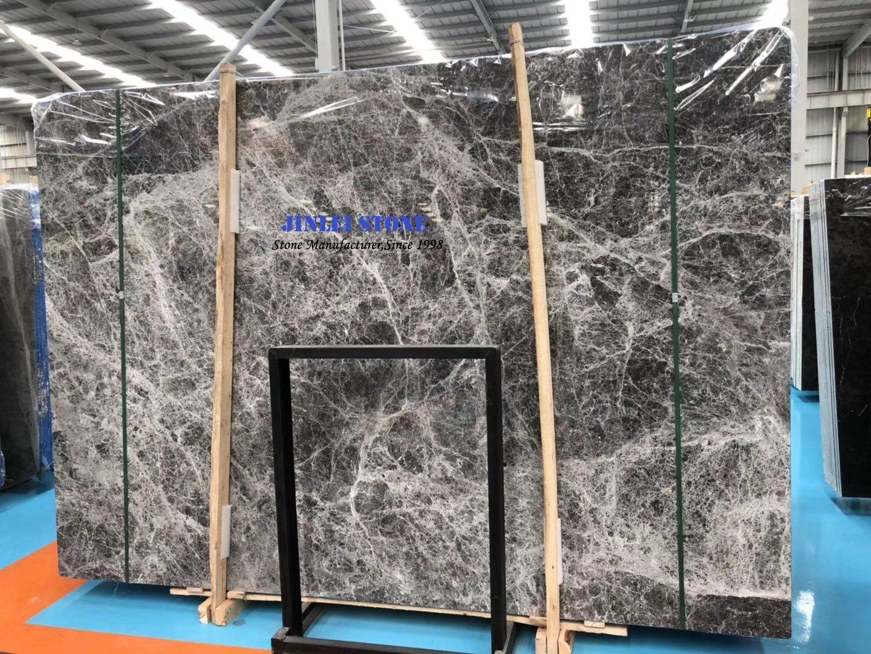 China Hermes Dark Grey Gray Marble Ai Ma Shi Tile Slab For Interior Decoration Natural Stone