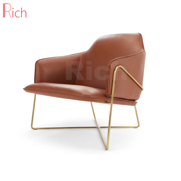 China Home Furniture Golden Metal Frame Leather Chair For Living Room Armchair