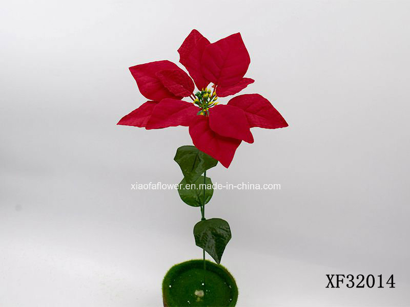 China Artificialplasticsilk Flower Single Stem Of Poinsettia