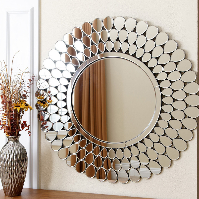 China Round Sliver Art Mirror Wall, Wall Decor Mirror For Living Room