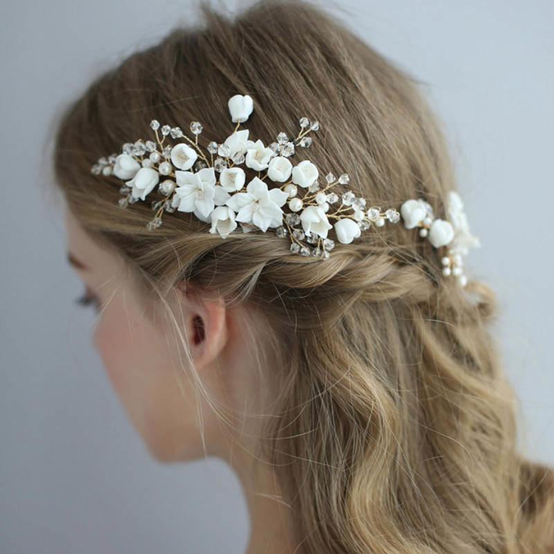 White Flower Hair Pins Flower Hair Accessories Wedding Hair Pin Floral Pins Bridal Hair Pins Bridal Hair Piece Headpiece Wedding Flower Comb