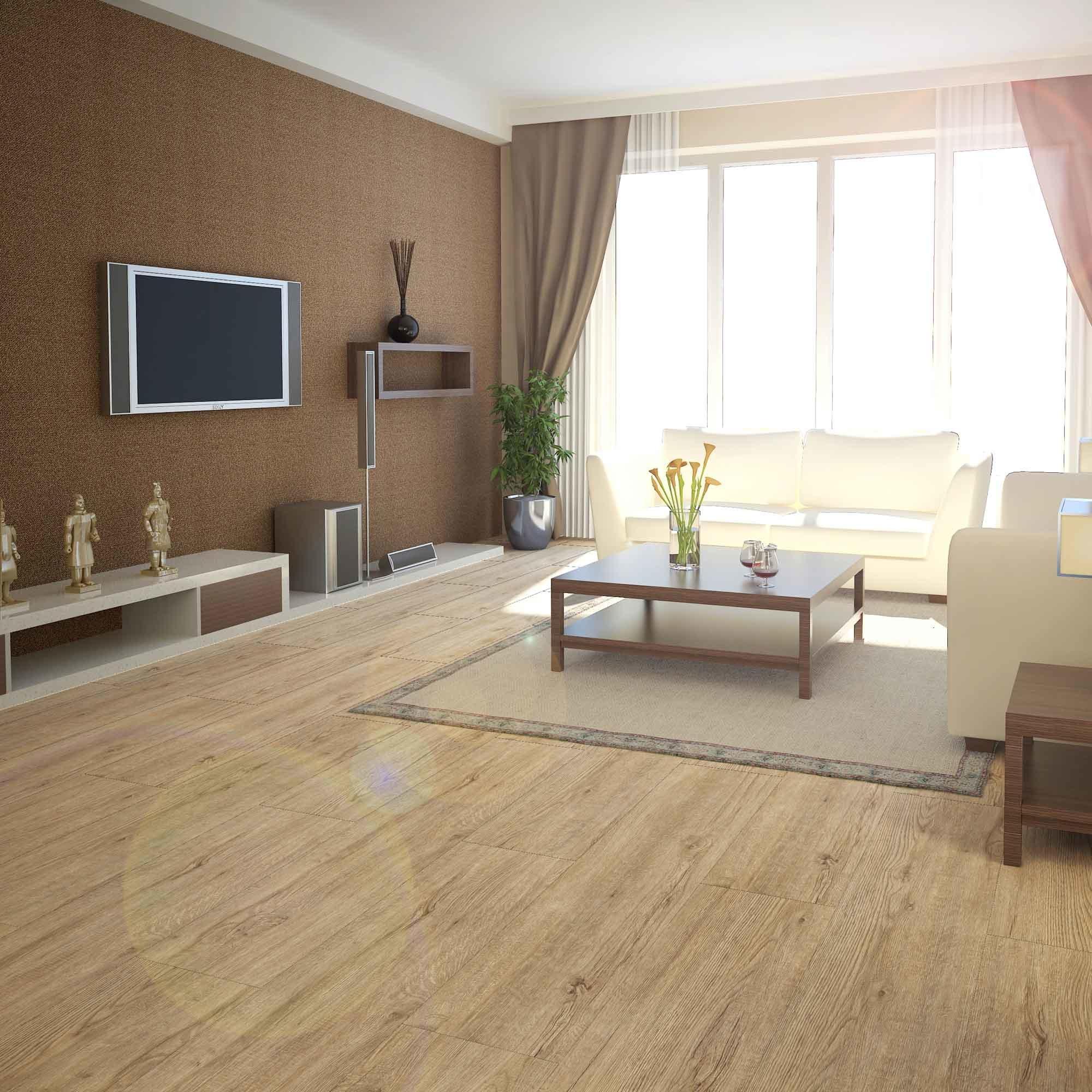 China Real Wood Texture Hdf Glossy Laminate Flooring Yellow Color Laminated