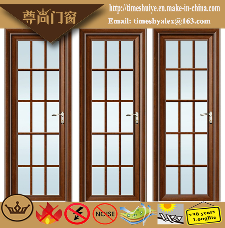 Frosted Glass Decoration Sandalwood Grain Aluminium Swing Door with Lattice Bar pictures & photos