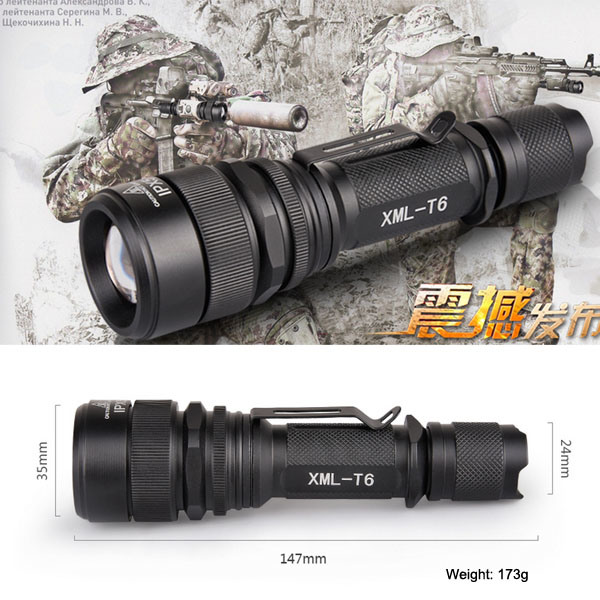 Telescopic Zoom CREE T6 Tactical LED Flashlight (Poppas- S16) pictures & photos