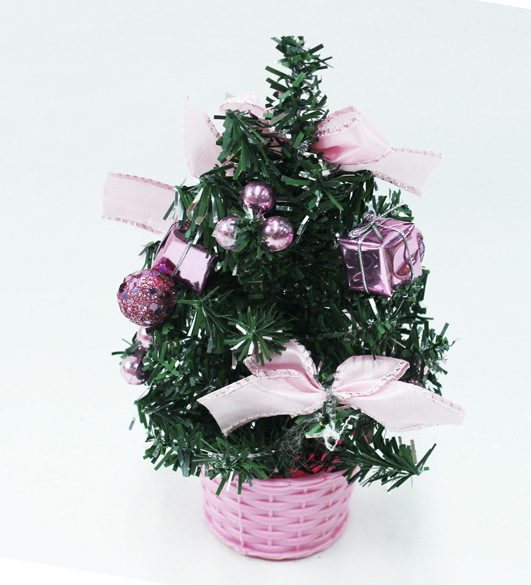 China Decorated Tabletop Christmas Tree With Pink Ornaments 25cm