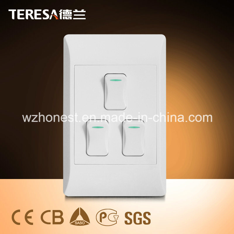 China South Africa Standard 3 Gang 1 Way or 2 Way Wall Switch ...