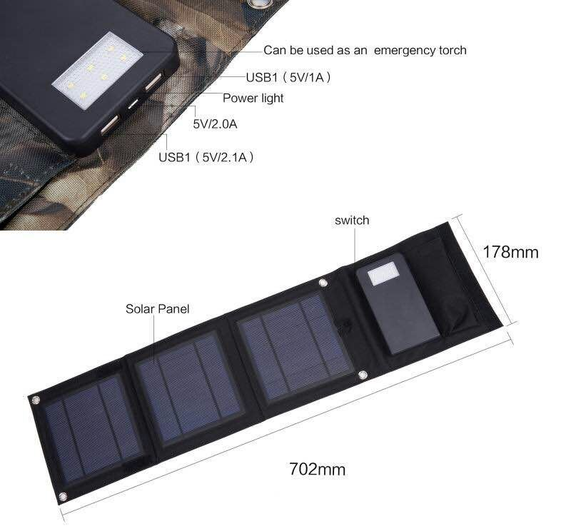 ISO Factory Original Solar Charger Mobile Phone Power Bank 10000mAh