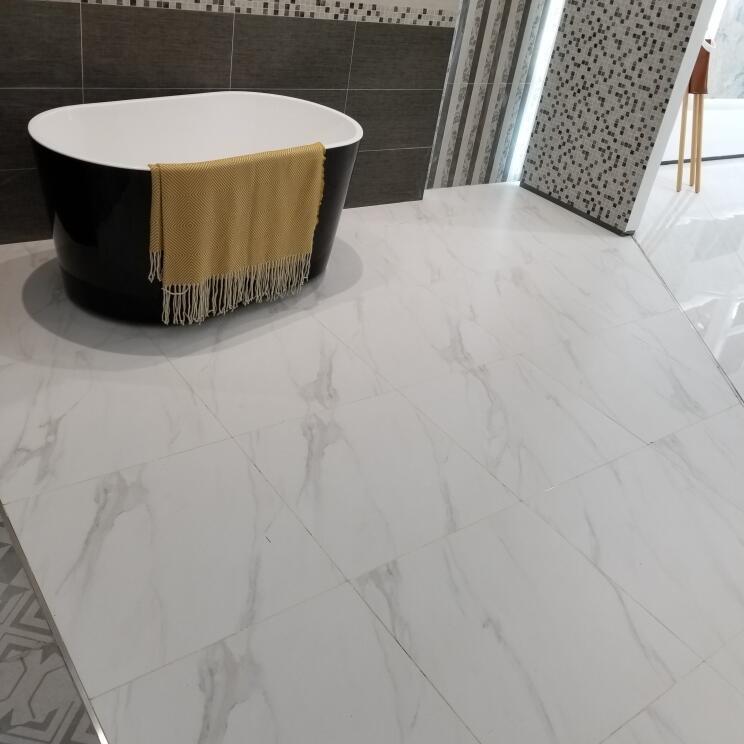 China White Carrara Marble Glazed Porcelain Floor Tile 600x600mm