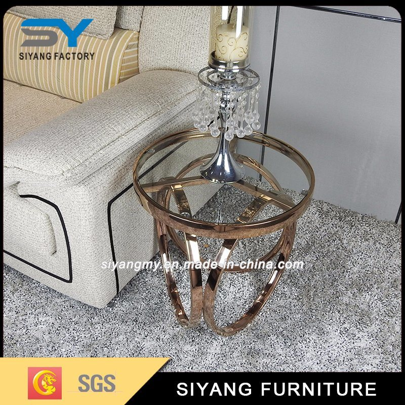 Latest Design Clear Tempered Glass Top Corner Table