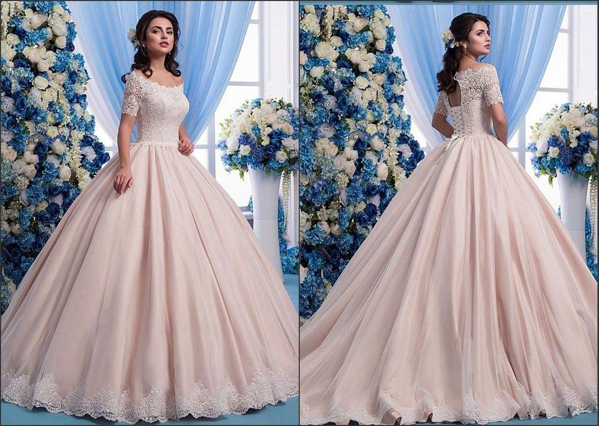 Short Sleeves Pink Wedding Dresses