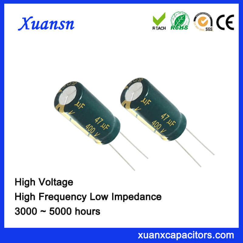 lot of 5 Electrolytic Capacitors 47uF 400V Radial
