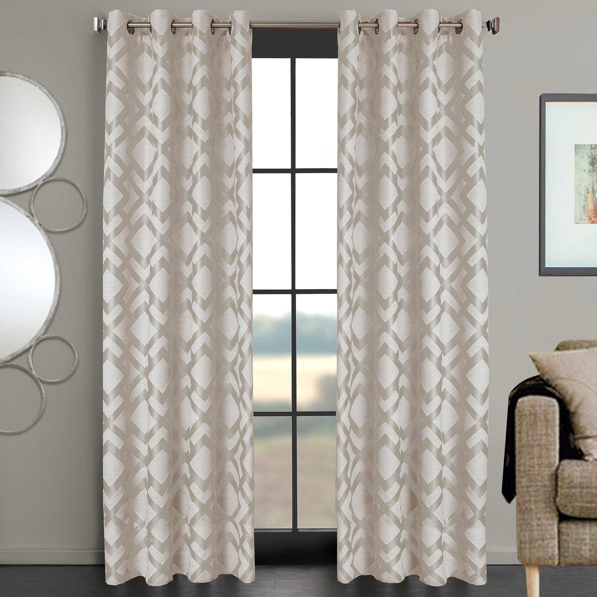 China Window Panel Ivory Ryder Grommet Geometric Jacquard Curtain China Curtain And Jacquard Price