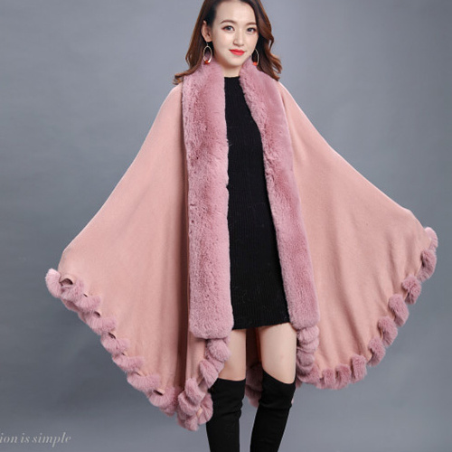 d6dab6f4afa34 Winter Women′s Solid Faux Fur Poncho Lady′s Fashion Fur Scarf Female′s  Blanket Shawls Travel Capes Warm Wrap