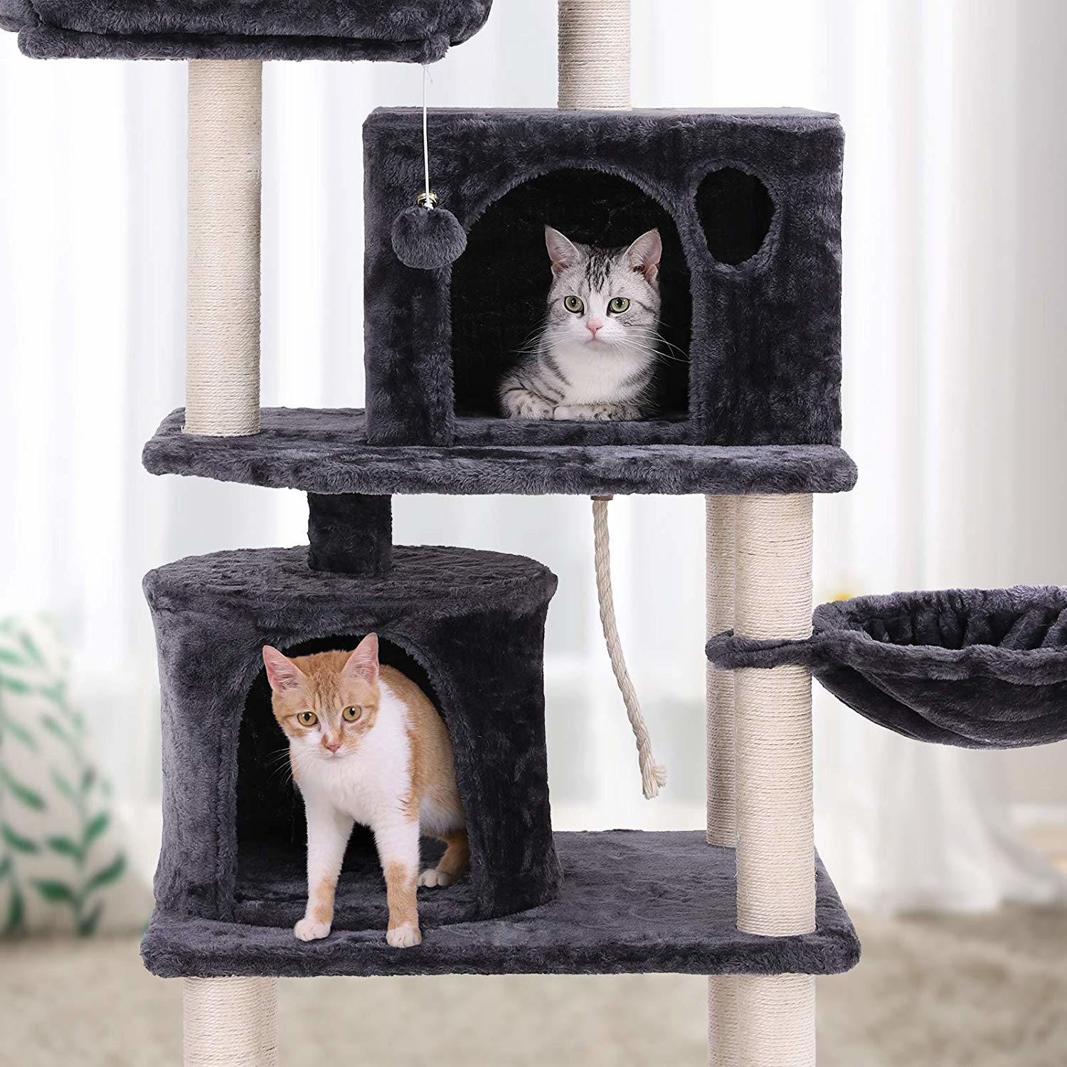 New Multi Level Cat Tree Cat Condo With Scratching Posts Kittens Activity Tower Pet Play House Furniture Sisal Covered Cat Toys Pet Supplies Pet Beds Cots
