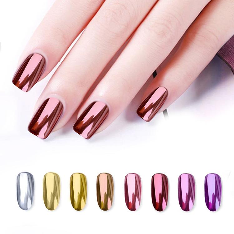 China Rose Gold Glitter Chrome Mirror Nail Polish Powder for Nails ...