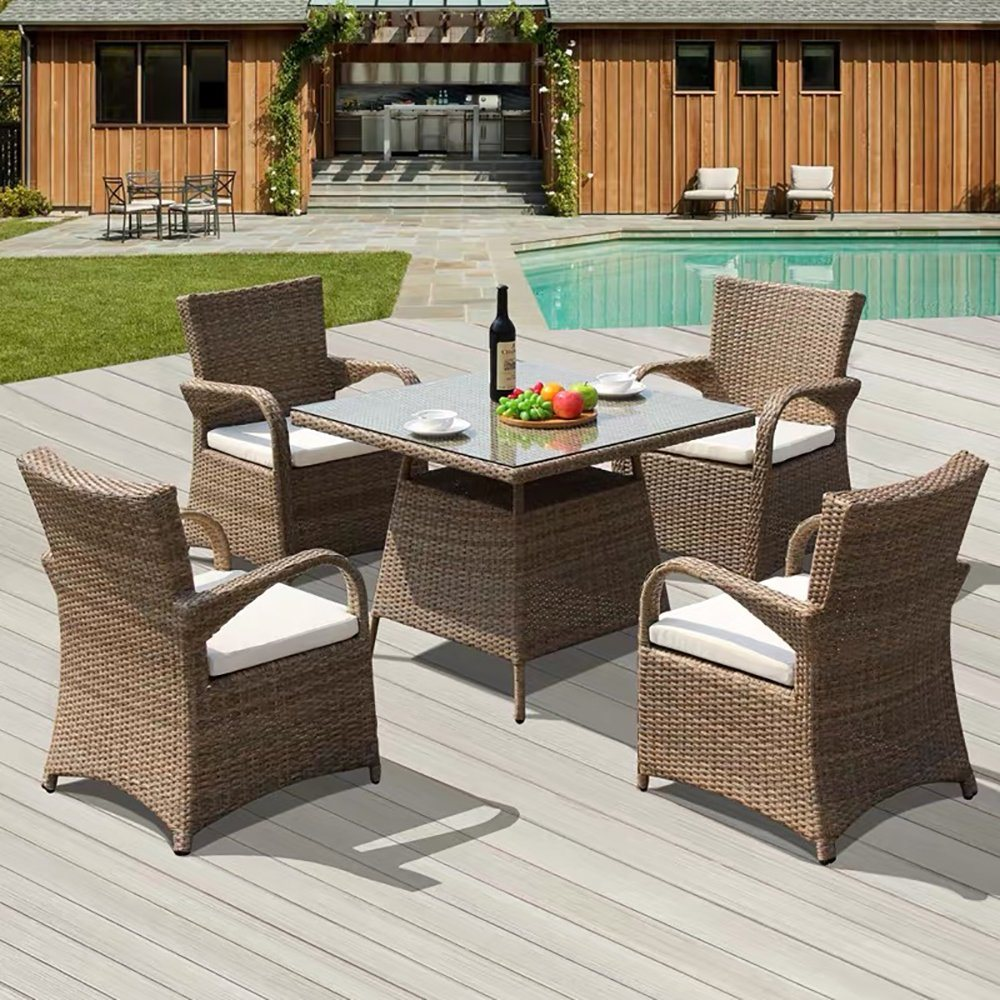 [Hot Item] Garden Restaurant Rattan Furniture 7 Seater Outdoor Chairs Set