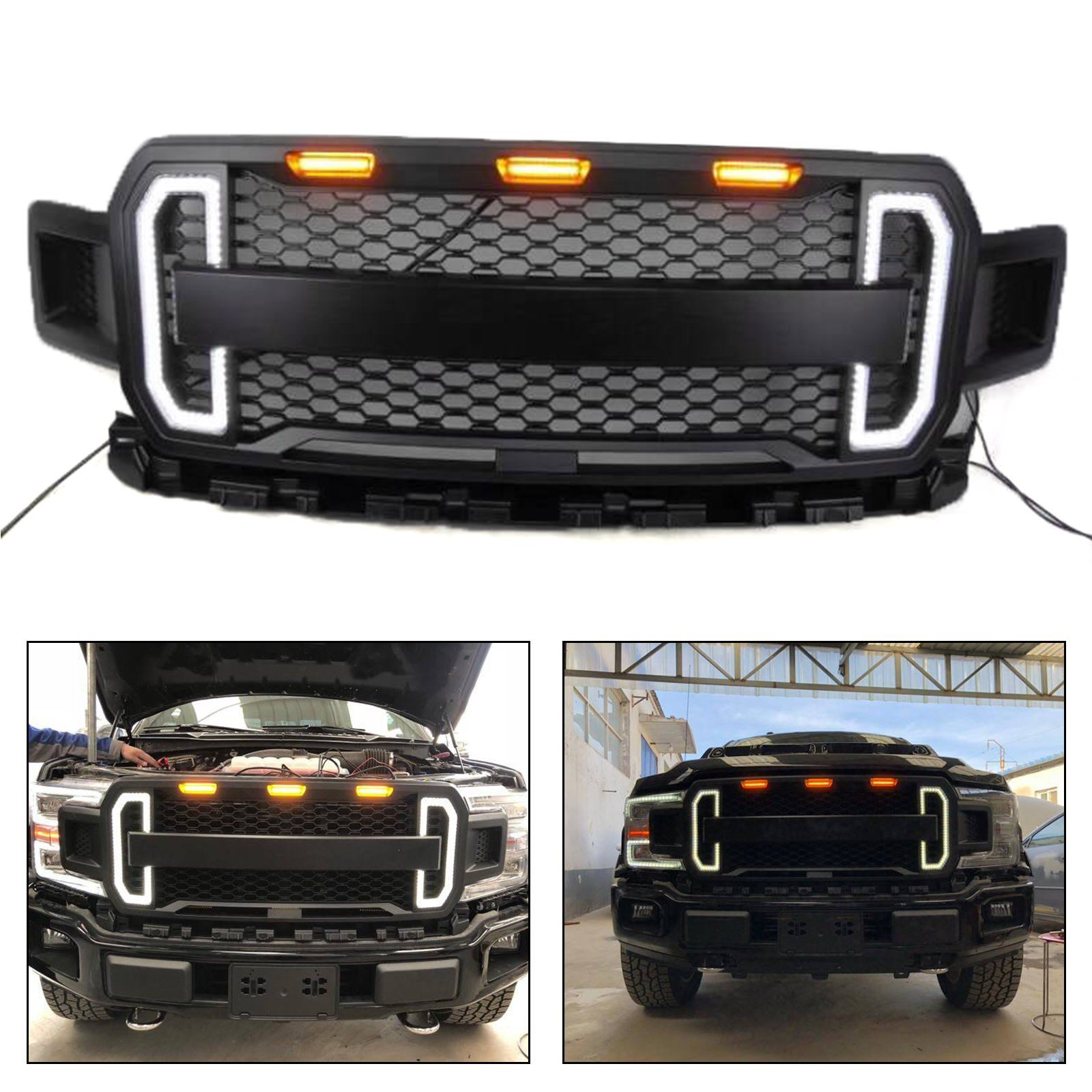 China Dongsui 4x4 Car Front Grill With Led Light Truck Accessories For Ford F150 China Front Bumper Grille Car Grills