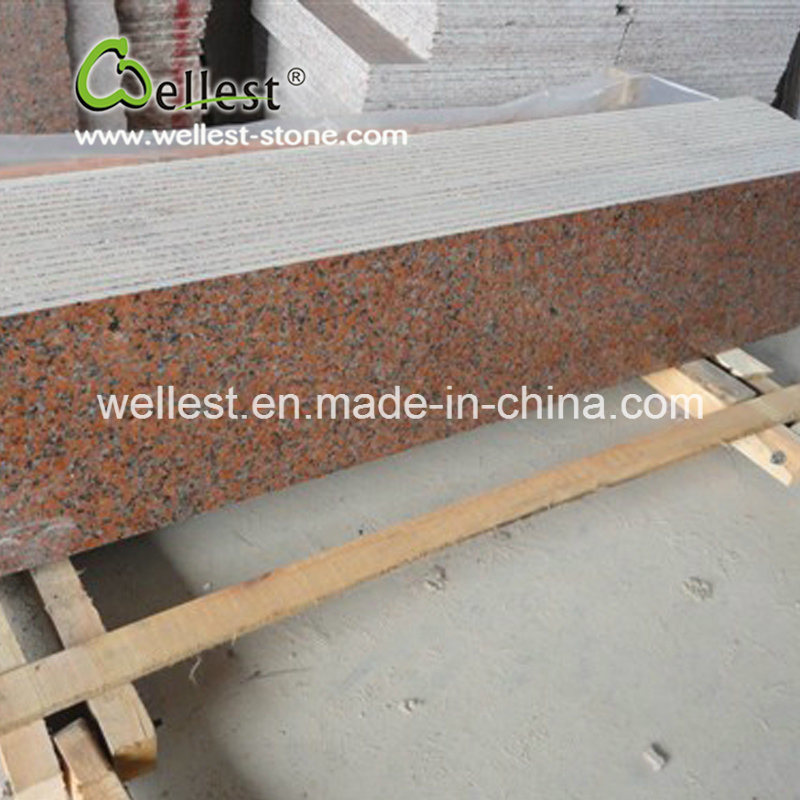 Maple Red Bullnose Edge Granite Stairs For House