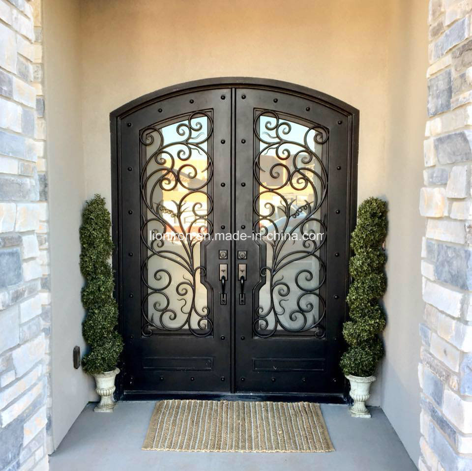 China Luxury Fancy Wrought Iron Entry Door With Double