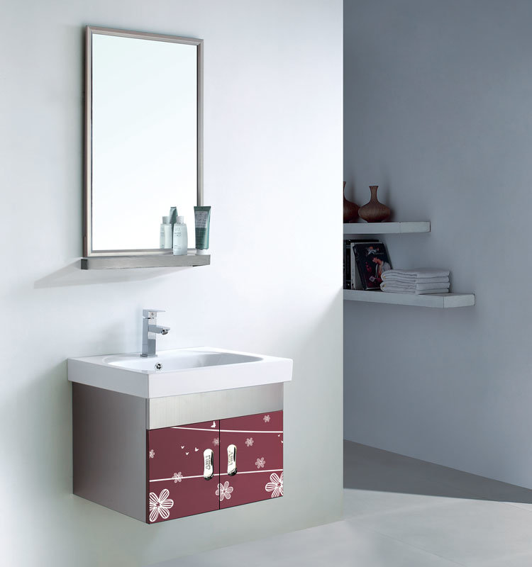 Metal Furniture and Red PVC Bathroom Furniture Cabinet