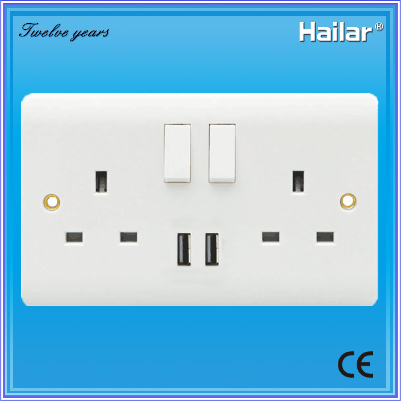 China 13A British Standard Switched Socket with USB Two Gang Two Way ...