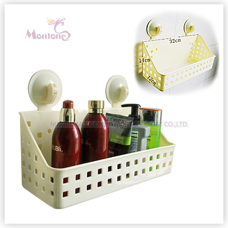 Suction Cup Shampoo Holder Storage Basket Bathroom Organizer Shelf Rack