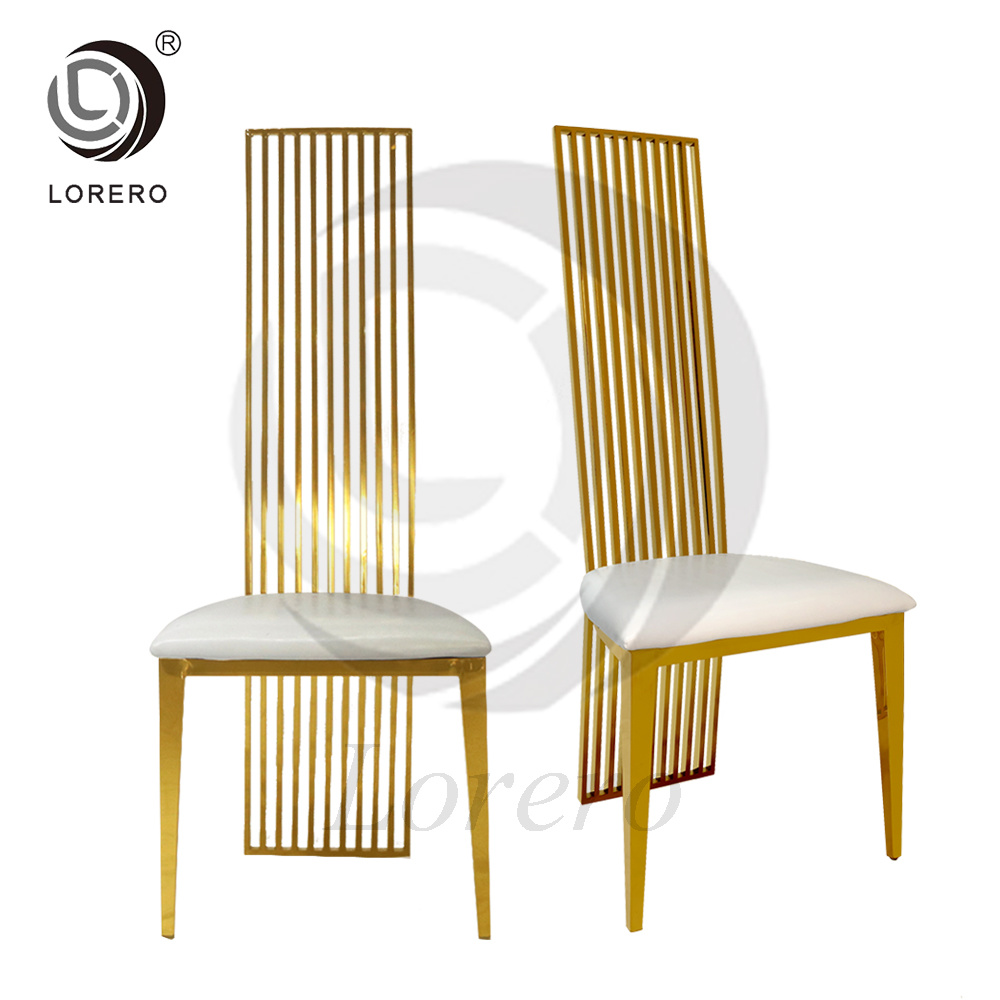 [Hot Item] Hot Dining Furniture Gold Metal Frame Stainless Steel Chair PU  Leather Chair for Sale
