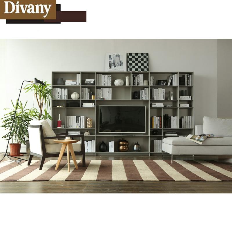 China Home Living Room Bookshelf Tv Cabinet Unit Tall Parion Set Modern Furniture Wooden Lcd