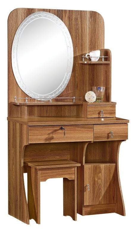China Mdf Dressing Table Melamine Pvc Finish New Design Mirror Stand Wooden Furniture Storage Cabinet 2019 Bedroom