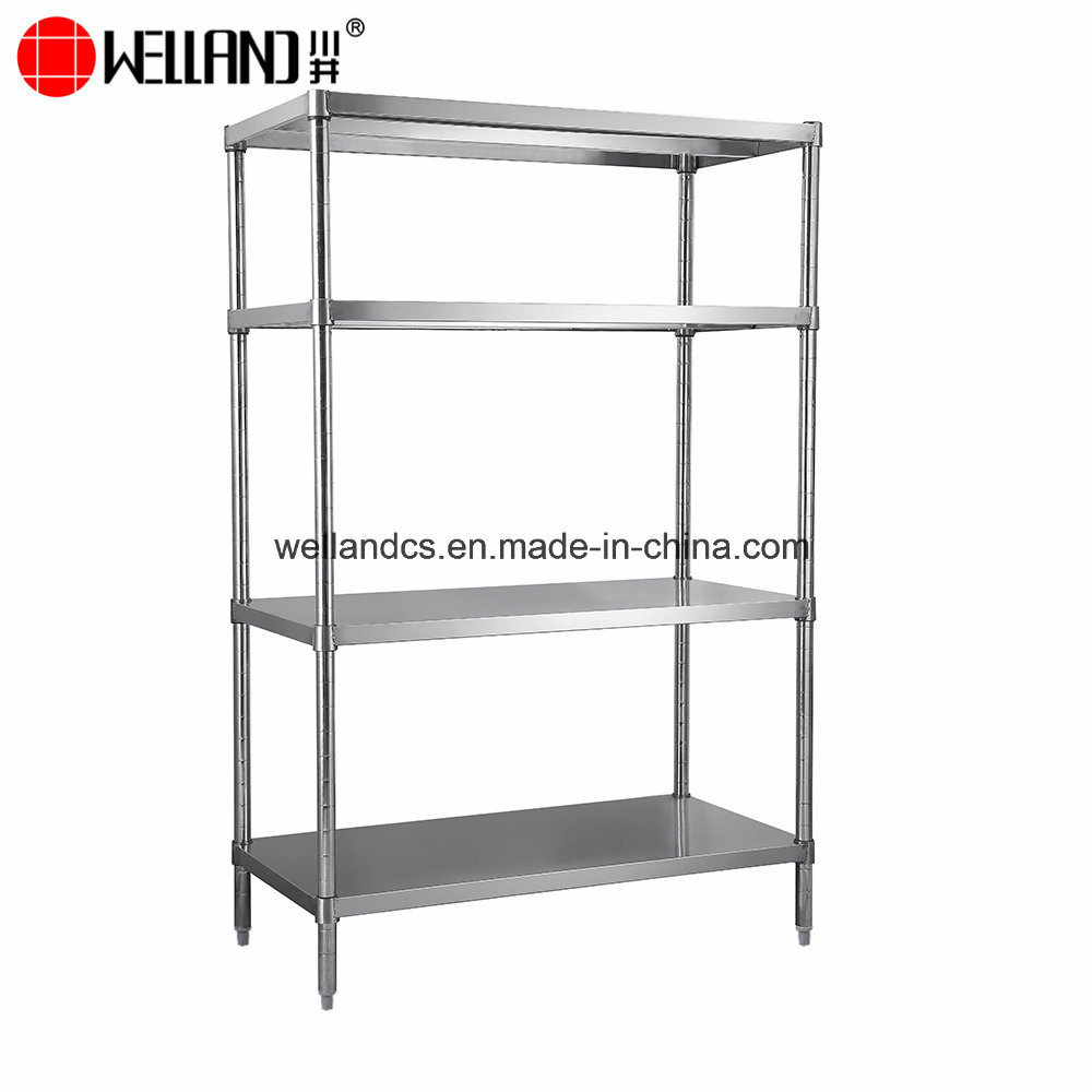 [Hot Item] Commercial Industrial Inox Kitchen Storage Shelf 4-Tier 304  Stainless Steel Kitchen Rack