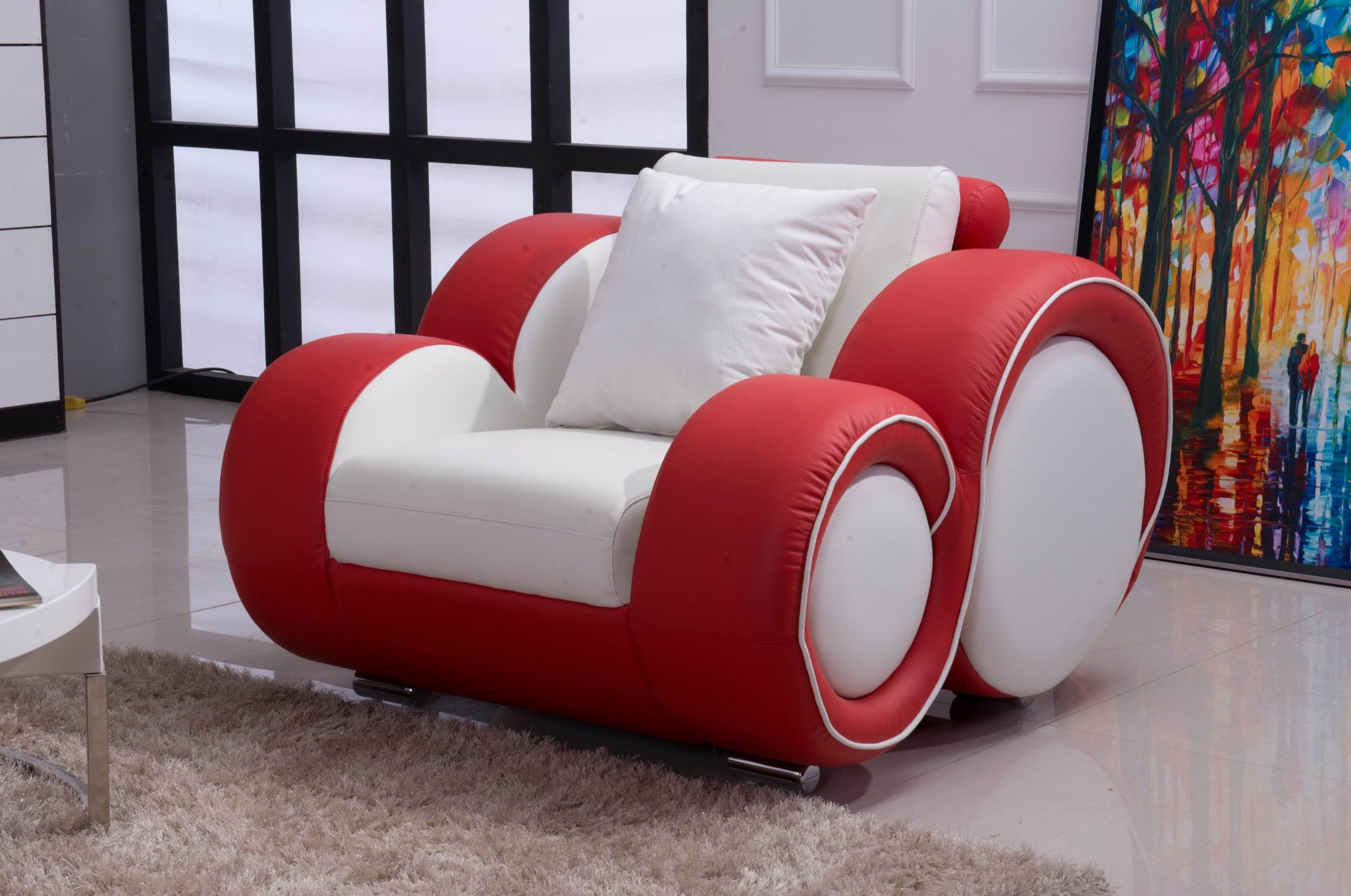 China White And Red Color Modern Leather Sofa Photos Pictures