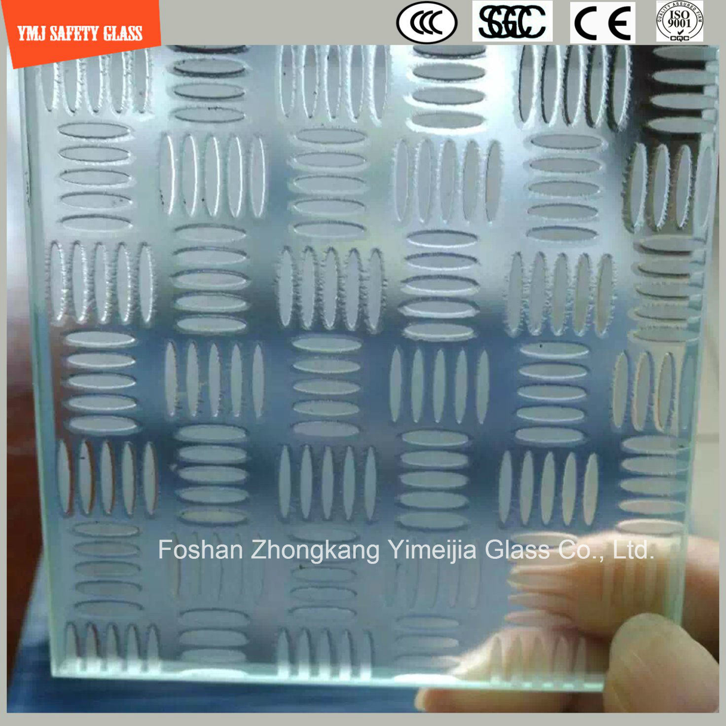 3-19mm Acid Etched Tempered Anti Slipping Construction Glass