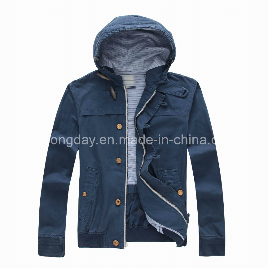 Navy 100% Cotton Men′s Casual Jacket with Cap (U44101)