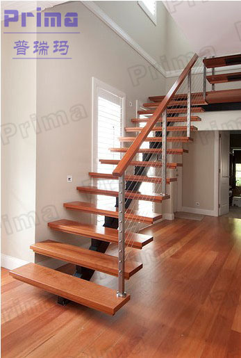China Modern Stainless Steel Railing Wooden Staircase