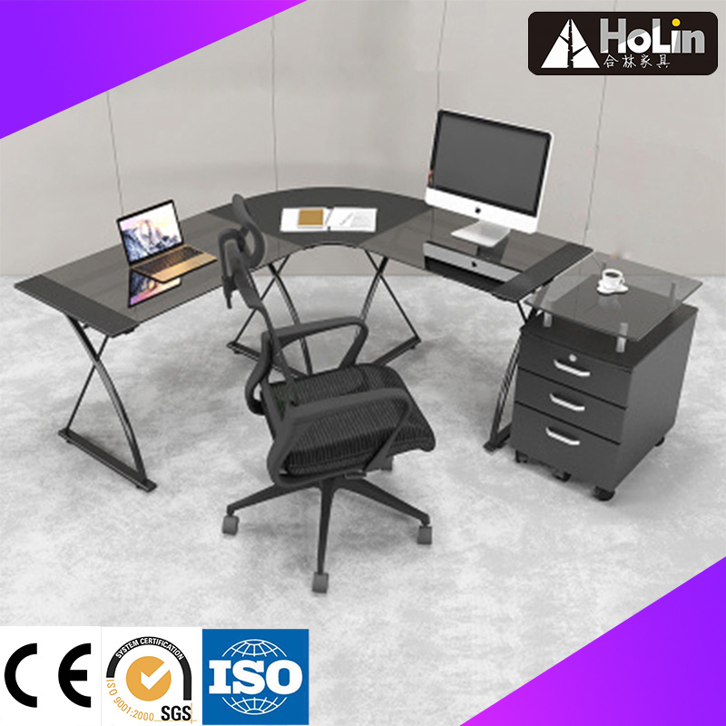 China Modern Study Furniture L Shaped Glass Computer Desk Table