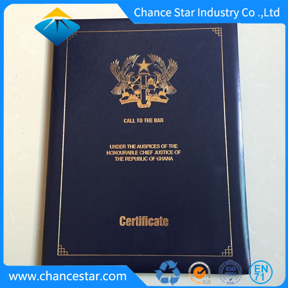 China Custom Big Size Foil Stamp Logo Diploma Certificate Folder