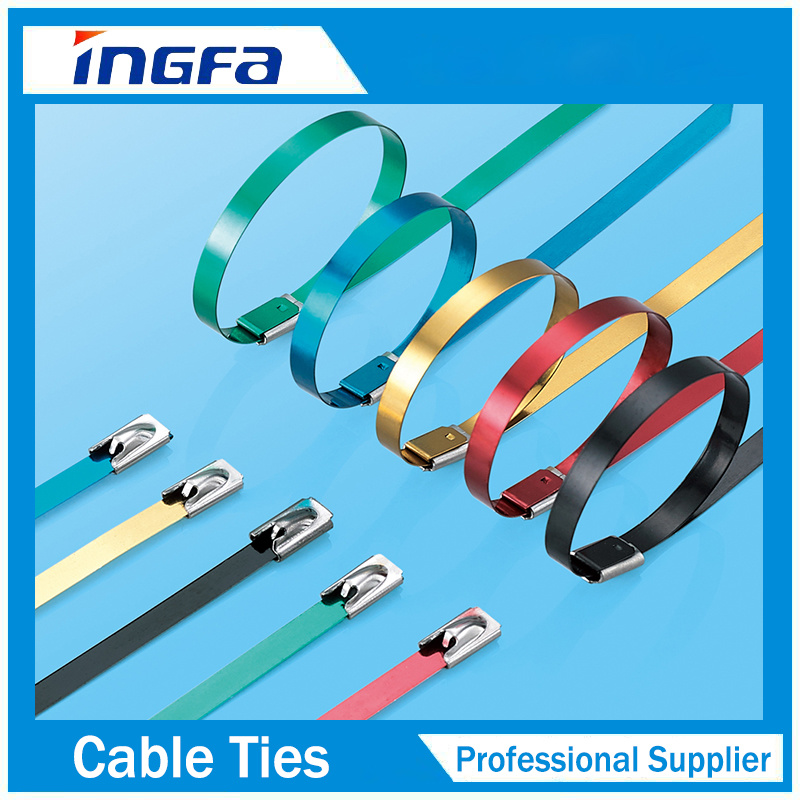 China Coloured PVC Coated Stainless Steel Cable Tie with Buckles ...