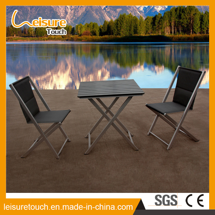 China Durable Good Quality Black Metal Outdoor Restaurant Furniture Aluminum Folding Patio Chair Table Set